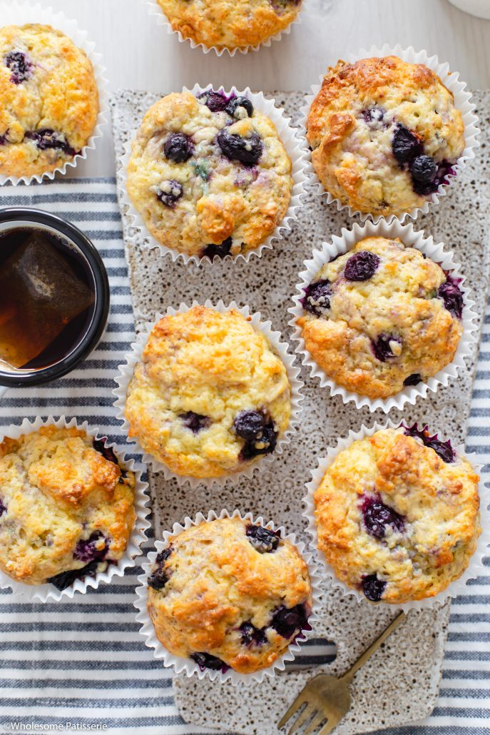 Quick and Easy Blueberry Muffins! Your new favourite batch of classic blueberry muffins with a soft and moist texture. They're bursting with sweet blueberries amongst a rich and flavourful crumb. These muffins are created in one bowl and bake in under 25 minutes, which is what makes these quick and easy!