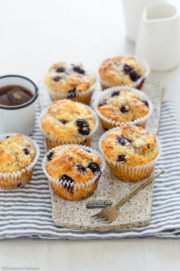 Easy Blueberry Muffins! Your new favourite batch of classic blueberry muffins with a soft and moist texture. They're bursting with sweet blueberries amongst a rich and flavourful crumb. These muffins are created in one bowl and bake in under 25 minutes, which is what makes these quick and easy!