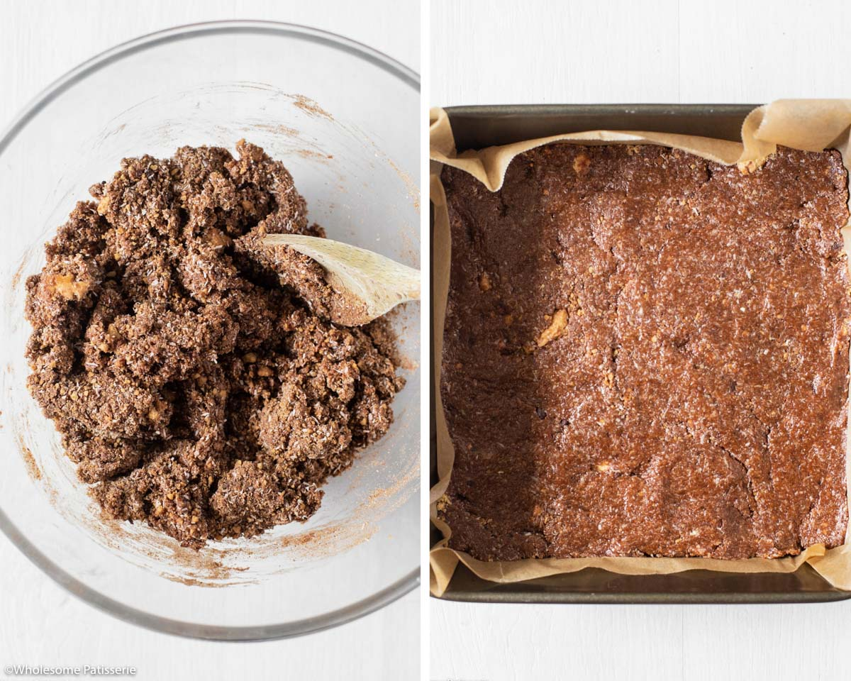 Before and after process shot of slice batter and then pressed into the pan