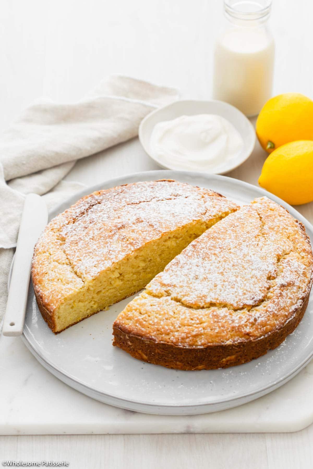 Image of lemon yoghurt cake sliced in half