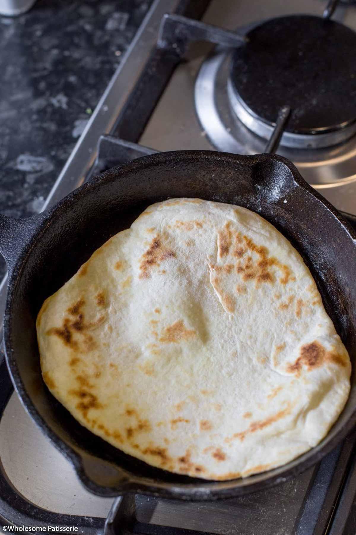 Pan frying flat bread