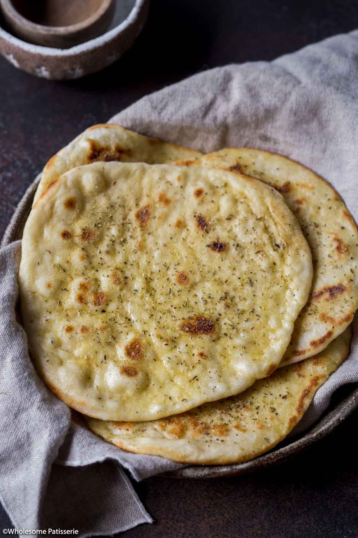 Homemade Pan Fried Flat Bread with Garlic and Dried Herbs